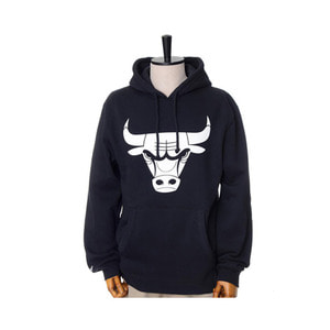 미첼엔네스 NBA 시카고불스 검흰 후드, MitchellandNess CHICAGO BULLS BLACK/WHITE LOGO HOODY - BLACK