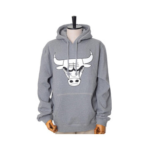 미첼엔네스 NBA 시카고불스 그레이 후드, MitchellandNess CHICAGO BULLS BLACK/WHITE LOGO CREW HOODY - GREY