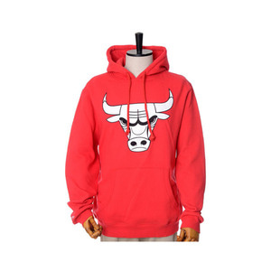 미첼엔네스 NBA 시카고불스 레드 후드, MitchellandNess CHICAGO BULLS BLACK/WHITE LOGO CREW HOODY - RED