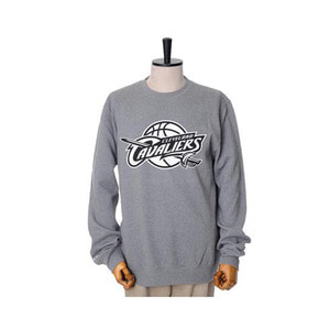 미첼엔네스 NBA 클리블랜드 캐벌리어스 맨투맨, MitchellandNess CLEVELAND CAVALIERS BLACK/WHITE LOGO CREW SWEATSHIRTS - GREY HEATHER