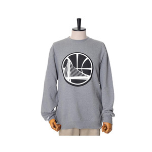 미첼엔네스 NBA 골든스테이트 워리어스 맨투맨, MitchellandNess GOLDEN STATE WARRIORS BLACK/WHITE LOGO CREW SWEATSHIRTS - GREY