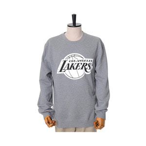 미첼엔네스 NBA LA 레이커스 맨투맨, MitchellandNess LA LAKERS BLACK/WHITE LOGO CREW SWEATSHIRTS - GREY
