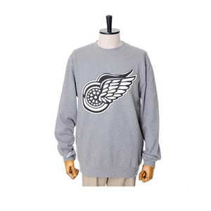 미첼엔네스 NHL 디트로이트 레드윙스 맨투맨, MitchellandNess DETROIT REDWINGS BLACK/WHITE LOGO CREW SWEATSHIRTS - GREY HEATHER