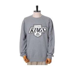 미첼엔네스 NHL LA킹스 맨투맨, MitchellandNess LA KINGS BLACK/WHITE LOGO CREW SWEATSHIRTS - GREY