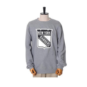 미첼엔네스 NHL 뉴욕레인저스 맨투맨, MitchellandNess NEWYORK RANGERS BLACK/WHITE LOGO CREW SWEATSHIRTS - GREY