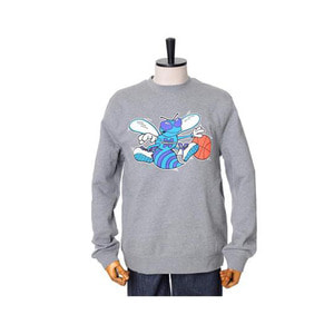 미첼엔네스 NBA 샬롯호네츠 팀로고 맨투맨, MitchellandNess CHARLOTTE HORNETS TEAM LOGO CREW SWEATSHIRTS - GREY