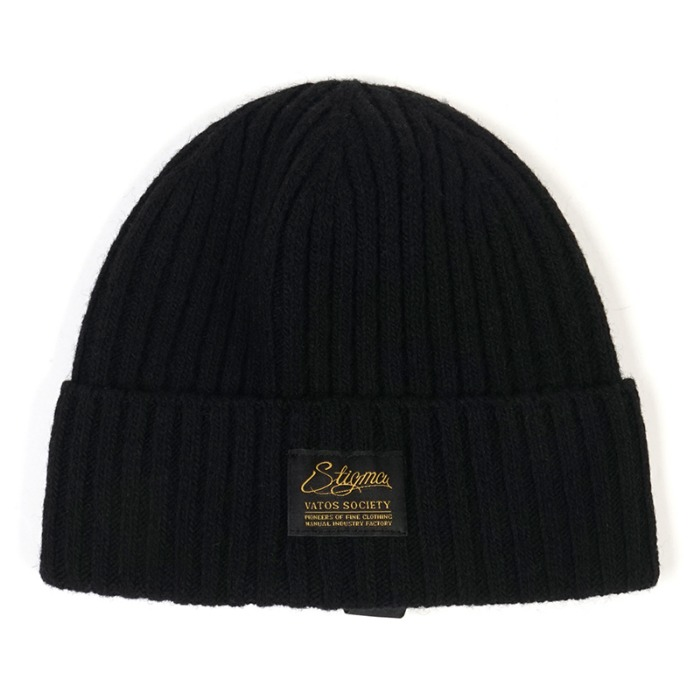 스티그마 STIGMA LABEL WOOL BEANIE BLACK - 풋셀스토어