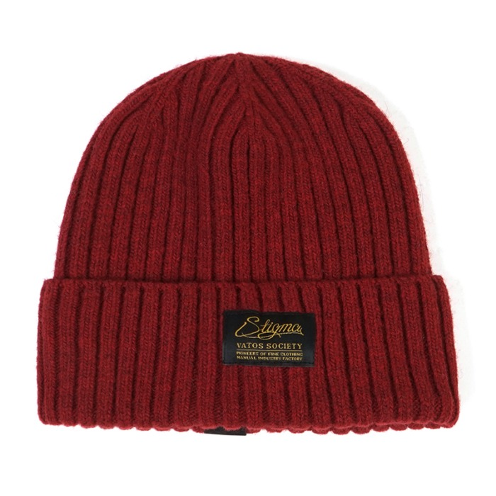 스티그마 STIGMA LABEL WOOL BEANIE BURGUNDY - 풋셀스토어
